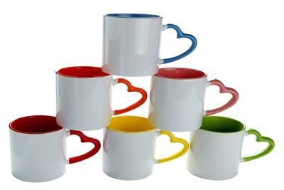 heart handle sublimation mug