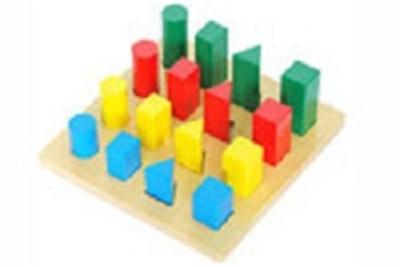 Geometrical Shapes Sizes Wooden Puzzle Trays