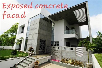 Exposed concrete facade